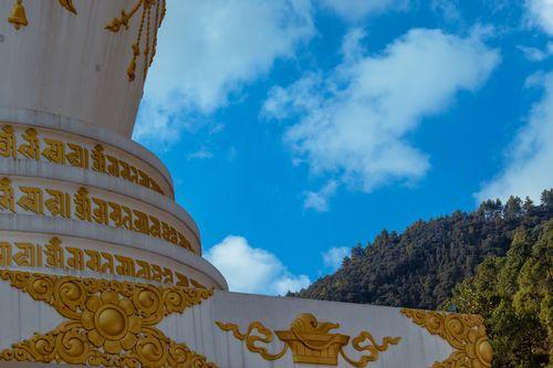 view,clear,sky,trees,stupa,located,budhanilkantha,nepal
