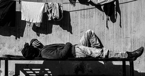 picture,boy,sleeping,bench,bright,sun,winter,season