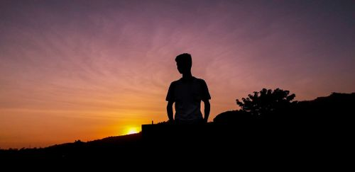 silhouette,image,boy,sunset
