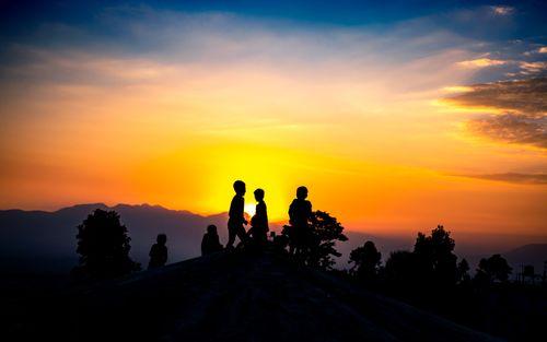 children,playing,gloomy,sunset,kathmandu,nepal