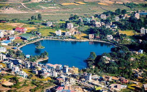 aerical,view,taudaha,lake,kathmandu,nepal