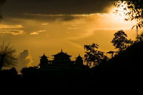 shadow,kapan,monastery,gokarna,hills,sunset