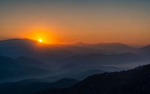 beautiful,sunrise,view,nagarkot,height,nepal