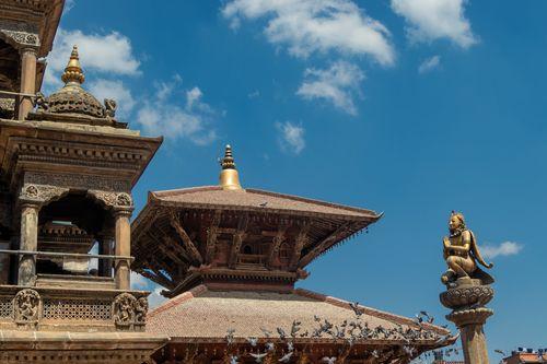 temples,garuda,namaste,hand,gesture,located,patan,durbar,square,nepal,world,heritage,site,declared,unesco