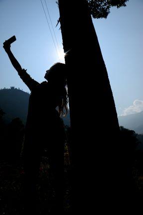 woman,takes,selfie,sunlight,#stockimage#nepalphotographybysitamayashrestha