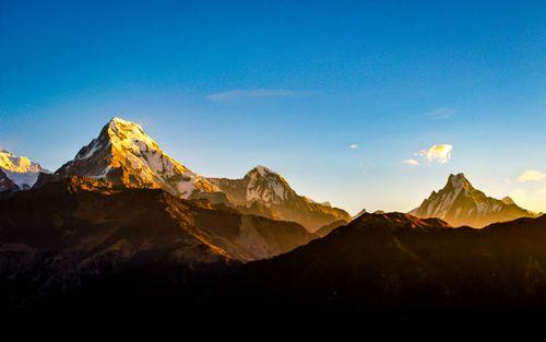 shining,mount,annapurna,south,range,view,poonhill,nepal