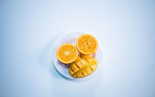 flat,lay,colorful,fruit,collection,orange,slice,mango