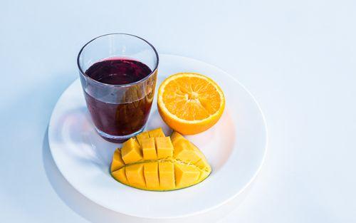 flat,lay,colorful,fruit,collection,slice,orangemango,juice