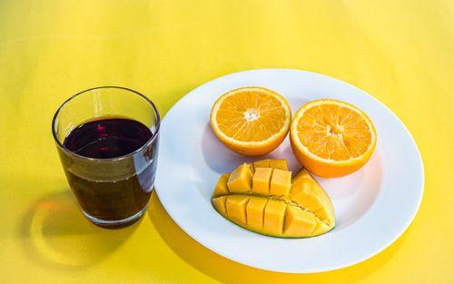 flat,lay,colorful,fruit,collection,slice,orange,mango