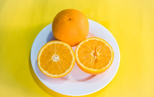 flat,lay,colorful,fruit,collection,slice,orange