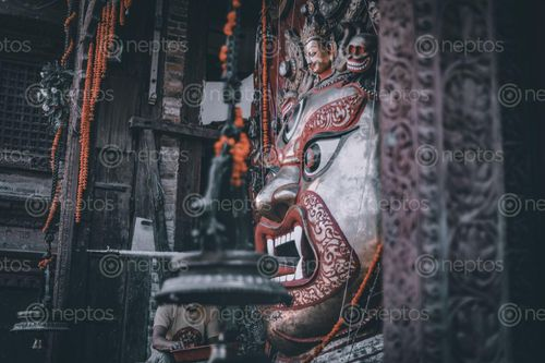 Find  the Image picture,swet,bhairav,located,basantapur,durbar,square,beautiful,architecture,enclosed,large,door,opened,dashain,festival  and other Royalty Free Stock Images of Nepal in the Neptos collection.