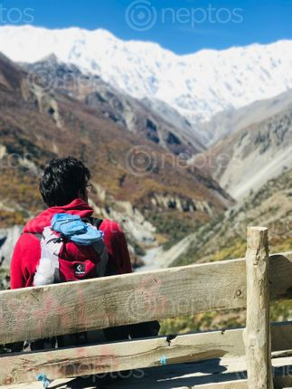 Find  the Image man,red,hoodie,taking,rest,enjoying,beautiful,mountain,range,tilicho,highest,lake,world  and other Royalty Free Stock Images of Nepal in the Neptos collection.