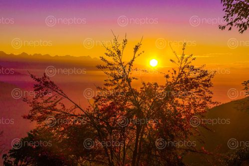 Find  the Image morning,sunrise,view,colorful,nature  and other Royalty Free Stock Images of Nepal in the Neptos collection.