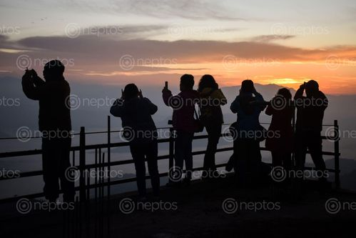 Find  the Image tourists,picture,sun,rises,nagarkot,nepal  and other Royalty Free Stock Images of Nepal in the Neptos collection.