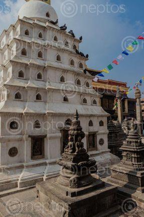 Find  the Image small,stupa,swayambhunath,stupamonkey,temple,statue,buddha,kathmandu,nepal,world,hritage,site,declared,unesco  and other Royalty Free Stock Images of Nepal in the Neptos collection.