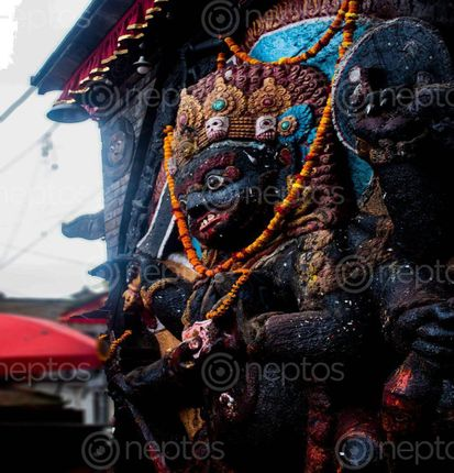 Find  the Image kaal,bhairava,diety,goda,fierce,form,shiva  and other Royalty Free Stock Images of Nepal in the Neptos collection.